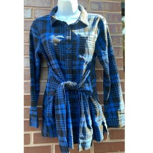English Factory Plaid Flannel Tie Front Shirt